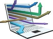 Laptop and arrows concept design