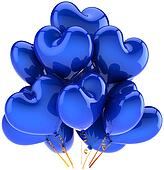 Blue birthday balloons heart shaped