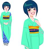 Japanese Woman in Green Kimono