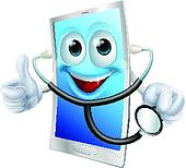 Mobile phone character holding a stethoscope