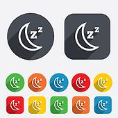 Sleep sign icon. Moon with zzz button.