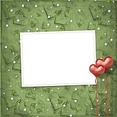 Valentines day card with hearts on the abstract green background