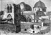 Church of the Holy Sepulchre or Church of the Resurrection in Jerusalem Israel vintage engraving