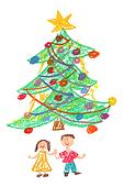 Children and Christmas tree - drawing