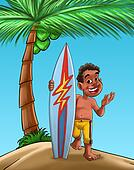 boy with surf board