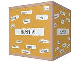 Hospital 3D Cube Corkboard Word Concept
