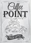 Poster coffe point. Coal.
