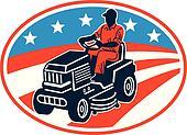 American Gardener Mowing Lawn Mower Retro