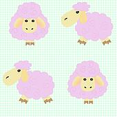 Cute cartoon sheep on a green backg