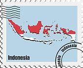 vector stamp  of Indonesia