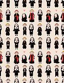 cartoon priest and nun seamless pattern