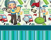 cartoon golf card