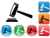 Gavel button icons set