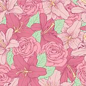 seamless background with pink lily and roses .