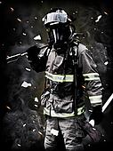 A firefighter Poses after a long fi