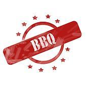BBQ Red Circles Stamp Grunge design