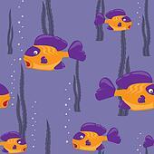 seamless pattern yellow fish