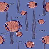 seamless pattern red fish