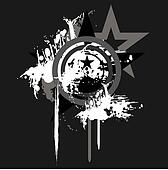 grunge vector star with reflection