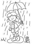 Little girl with umbrella cartoon