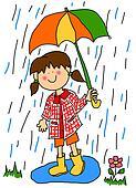 Little girl with umbrella cartoon