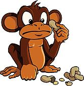 Cartoon monkey with peanuts