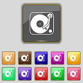 Gramophone, vinyl icon sign. Set with eleven colored buttons for your site.