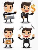 funny cartoon office worker with sale Promotions icon set