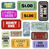 Tickets in different styles template set. EPS 8