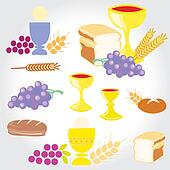 Set of Illustration of a communion