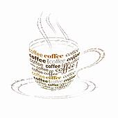 coffee cup made up  with words