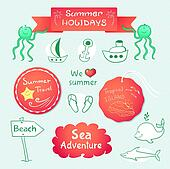 Beach graphic set with labels and inscriptions
