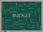 Budget Word Cloud Concept on a Blackboard