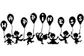 Doodle children with balloons