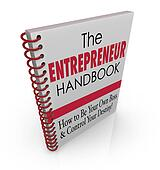 The Entrepreneur Handbook to illustrate skills, knowledge, learning, advice and helpful information on owning your own business and succeeding as a self employed company owner