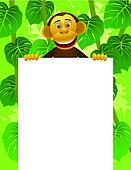 Chimpanzee and blank sign