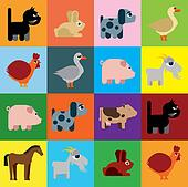 Animals raster naive caricature
