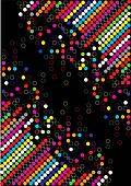 Colorful dotted background on black