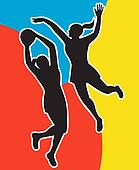netball players silhouette jumping shooting blocking