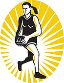 netball player running with the ball