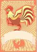 Vector illustration of bird Hen and Chicken logotype