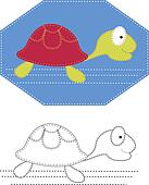 Vector cartoons of turtle. Color applique for sew