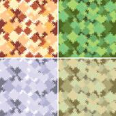 Four of abstract form and color camouflage
