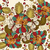 Floral seamless wallpaper pattern in vintage style
