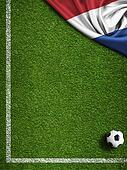 Soccer or football field with flag of Nederland