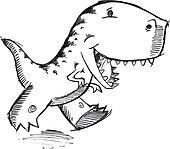 Doodle Dinosaur T-Rex Vector art
