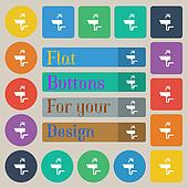 Washbasin icon sign. Set of twenty colored flat, round, square and rectangular buttons.