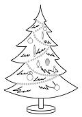 Christmas fur-tree, contours