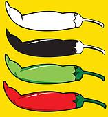 red and green chilli peppers. vector illustration