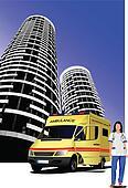 Ambulance and medical nurse on cit